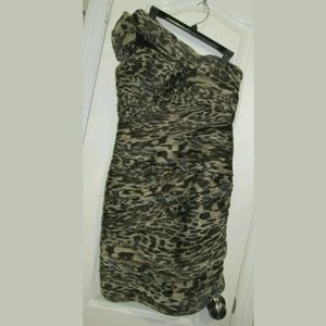 12 NWT Cache One Shoulder Animal Print Party Dress